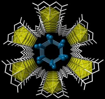 Uranium metal-organic nanotube contains confined water molecules in a hexagonal array. (Unruh et. al. 2013)