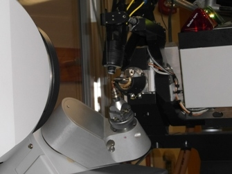 Crystal mounted on diffractometer.