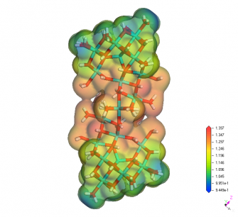DFT electrostatic potential mapped onto Al30 nanoparticle charge density