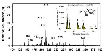 10 major organosulfates (m/z) identified in  Centreville, AL during summer 2013