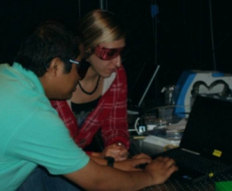 Binaya and Stevie setting up a SERS Experiment