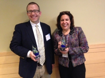David Cwiertny (former postdoc) and Vicki Grassian Receive 2014 Early Career Scholar and Scholar of the Year Awards
