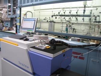 Custom gas sampling/handling apparatus hooked up to the terahertz instrument
