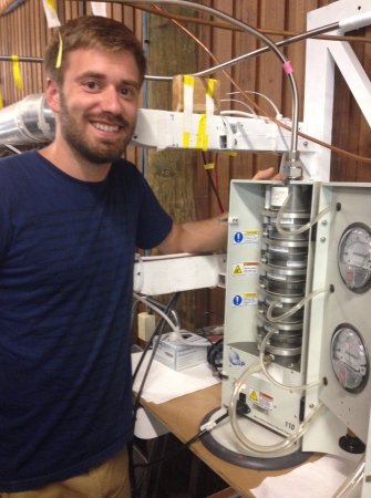 Jon Trueblood working with one of the MOUDI impactors during the Summer 2014 CAICE - IMPACTS Experiment