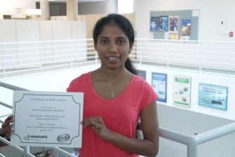 Aruni Gankanda wins second place in the Math, Physical & Engineering Sciences Division of the 2013 Jakobsen Gradutate Conference