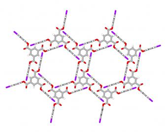Halogen bonded nanoporous network