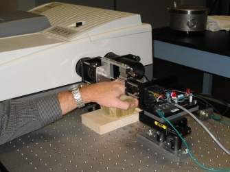 Collecting near infrared spectra of interstitial fluid through a skin fold on the back of the hand.